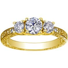 18K Yellow Gold Antique Scroll Three Stone Trellis Ring (1/3 ct.tw.), top view