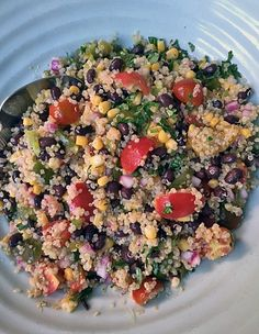 Mexican Quinoa Salad with Tomatoes, Black Beans and Corn. Quinoa--it's what's for dinner!