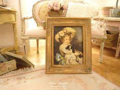 Melody Jane Dolls House Miniature Accessoire Victorien Lady peinture or cadre