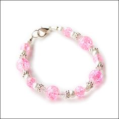 Pink White Crackle Glass Beads Child Girl Bracelet by la jolie fille boutique, $6.00