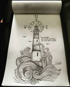 Let me be your beacon and I'll guide you through the storm. Lighthouse Sketch, Lighthouse Painting, Lighthouse Clipart, Cartoon Drawings, Pencil Drawi… - New Site Cool Art Drawings, Pencil Art Drawings, Doodle Drawings, Colorful Drawings, Art Drawings Sketches, Easy Drawings, Doodle Art, Drawing Ideas, Cartoon Drawings