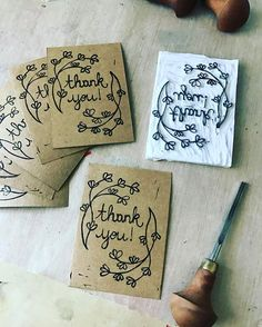 Printing little cards to put in with all my  shipped orders... #handmadestamps #rubberstamp #littlerowanredhead #handprinted #blockprinting #homemadestamp #linoprint