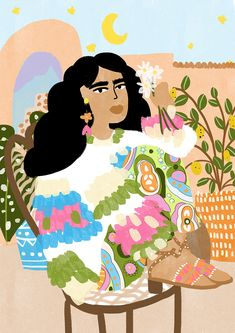 Sweater Weather illustration by Alja Horvat #colorful #bohemian #art #moon #plants