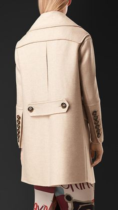 Burberry Prorsum Stone melange Oversize Detail Cashmere Coat - An double-breasted coat in cashmere.  The relaxed fit design features dropped shoulders and exaggerated lapels and collar. Discover the women's outerwear collection at Burberry.com