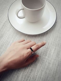 Black Onyx Horizontal Ring