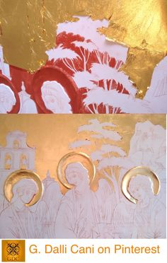 "Giada Dalli Cani - ""The Corr Trinity"" - 2015. Red base and 24 ct gold leaf application to the halos and sky."