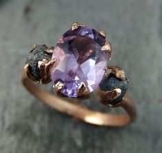 Raw Diamond Amethyst Gemstone 14k Rose Gold Engagement Ring Wedding Ring One Of a Kind Gemstone Ring Bespoke Three stone Ring byAngeline    Raw rough