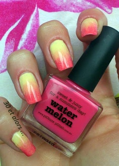 Tequila Sunrise mani creation featuring Watermelon, Mellow Yellow and Peaches n Cream by 30Etalors! WOW so summery!