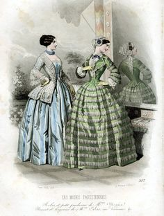 1860s fashion plate -love the blue striped skirt with jacket