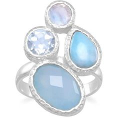 Chalcedony, larimar, topaz and moonstone cluster ring ($84) ❤ liked on Polyvore featuring jewelry, rings, larimar rings, moonstone jewelry, cluster ring, oval rings and larimar jewelry