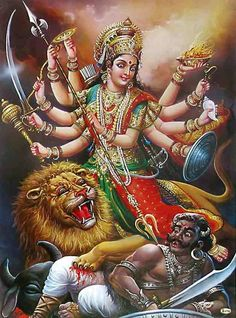 """BHARAT DARSHAN - DEVI NAVARATRI - GOD AS MALE AND FEMALE. GOD IS THE SUPREME BEING AND DESCRIBED AS OMNIPOTENT. THIS POTENCY OR POWER IS CALLED 'SHAKTI' IN SANSKRIT LANGUAGE. DEVI IS PERSONIFICATION OF 'SHAKTI'. SHE DISPLAYED THIS GREAT POWER IN SLAYING OF A DEMON KING CALLED """"MAHISHASURA."""""""