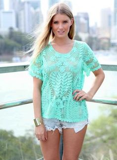 Green Lace Mesh Top