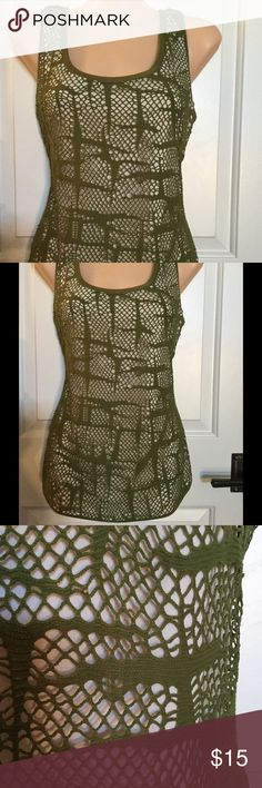 """🔷🔹Crochet Top🔹🔷 This very cute crochet tank is fully lined with soft banding on neck, armholes and hem. """"Spanish olive"""" green.... ECI Tops Tank Tops"""