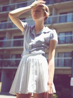 Skirt and button down t-shirt