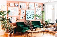 Distinctive Gifts Mean Long Lasting Recollections Why The Twin Cities Is The Biggest New Design Hub - Lonny Peach Living Rooms, Peach Rooms, Peach Bedroom, Peach Walls, Green Rooms, Living Room Colors, Bedroom Wall, Bedroom Decor, Room Inspiration