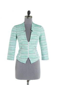 Veston en tweed ajusté et écourté - Vert Vestons