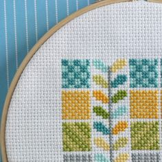 Seafoam Squares Modern Cross Stitch Pattern by ModernStitchTherapy