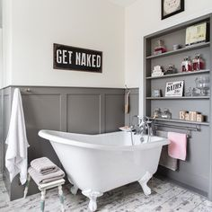 Grey and white bathroom with slipper bath and panelled shelves Add A Bathroom, Bathroom Plans, Family Bathroom, Bathroom Renovations, Bathroom Ideas, Bathroom Repair, House Remodeling, Bathroom Vanities, Bathroom Organization
