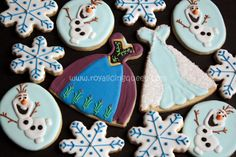Frozen Cookies - The Royal Icing Queen - Anna and Elsa's Dress, Olaf, and Snowflakes