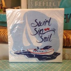 4th of July Party! This awesome sailing cocktail napkin set is a great way to bring a little beach to your table! Come on in to Coastal Living for the perfect additions to your table!