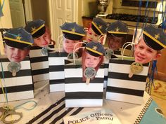 Goodie bags for a police & robber birthday party
