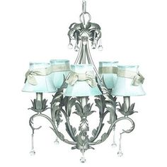 Price: $374.22 Jubilee 7799-2411-314 5 Light Caesar Chandelier, Pewter - Bold, but elegant. This 5-arm chandelier features a pear-shaped base lined in leaves. Simple raindrop crystals add a touch of class and femininity to a chandelier that is perfect for a small dining room or bathroom. It is dressed in chandelier shades with champagne sashes.