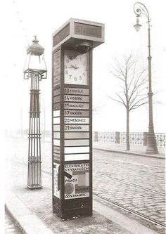 Tramway stop in Prague, 1926 Prague Czech Republic, Heart Of Europe, Colourful Buildings, Medieval Town, History Photos, Old Postcards, Krakow, Old Photos, Beautiful Places