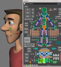Highly customizable character rig by AnimSchool