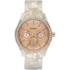 Fossil Watch, Women's Stella White Plastic Bracelet 37mm ES2887