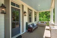 25 Gorgeous Front Porches for Summer Front Porch Plants, Front Porches, Grey Front Doors, Porch Styles, White Porch, Tile Stairs, Luxury Portfolio, Brick Patios, Arched Windows