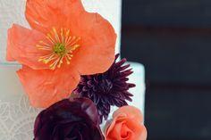 Sugar poppy and dahlia detail. Cake Shop, Sugar Flowers, Custom Cakes, Dahlia, Poppy, Wedding Cakes, Romantic, Country, Detail