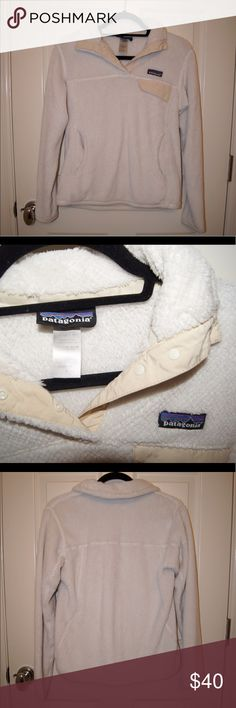 Patagonia Fleece Pullover White/ Cream Patagonia! In good condition. Has been worn many times! Patagonia Jackets & Coats