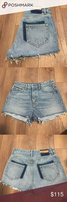GRLFRND Cindy Highwaisted Shorts Currently one of my favorite denim brands!! I just don't really wear shorts. However, the fit and construction of these shorts is amazing!!! Worn once, so they still look like new. Highly recommend hanging to dry because they tend to shrink as they are 100% cotton. GRLFRND Shorts Jean Shorts