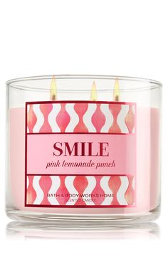 Smile - Pink Lemonade Punch 3-Wick Bath & Body Works Candle | You're sure to grin with this blend of sugared pomegranate seeds, sparkling lemons and sun-ripened raspberries