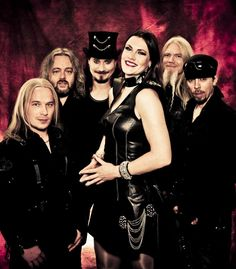 Nightwish - (left to right) Emppu Vuorinen, Troy Donockley (guest), Tuomas Holopainen, Floor Jansen (guest), Marco Hietala, Jukka Nevalainen