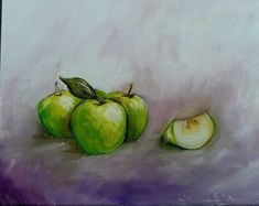 Painting Green Apples oil painting art wall decor #Realism Painting Art, Wall Art Decor, Apples, Backdrops, Great Gifts, Oil, Drawings, Green, Sketches