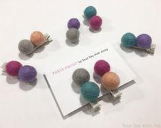 Wool Felt Ball Mini Hair Clips Set of 5 Toddler Hair Clips