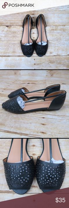 Black faux leather laser cut slip on flats Brand: Bamboo Size: 8 New(with box)  Color: Black  Faux leather  Laser cut floral design  Open toe  Cutout sides  Slip on  Flats  No Trade Shoes Flats & Loafers