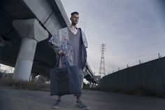 MSFW Emerging runway 2016 -  Sustainable menswear collection - Original print design -Kombucha leather bag-  #menswear #sustainable #textiledesigner #floralprints #texturedfabric #handknittedjumper #kombuchaleather