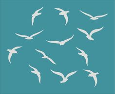 Seagulls OCEAN BIRDS Stencil Available in 5 por SuperiorStencils