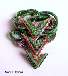 Green, Brown and Tan Beadwoven Necklace... EBW Team