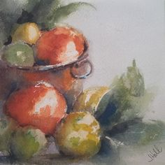 """Citrus and Copper"" original watercolor painting by Julie Hill (6"" x 6"")"