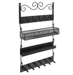 Supreme Classic Black Metal Wall Mount Jewelry Organizer Shelf