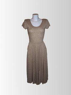 1970s Tan Jersey Dress from www.sixesandsevensvintage.com at £15.00  Size 14. Retro Vintage Dresses, Retro Dress, Dresses For Sale, 1970s, Size 14, High Neck Dress, Fashion, Turtleneck Dress, Moda