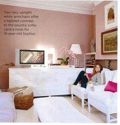 Relaxed, sophisticated teen room.  Pink + white + feminine details.