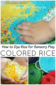 Here is a how to dye rice sensory play recipe! Making colored rice is easy! Great for sensory bins and sensory play all year round.