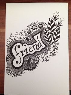 Zentangle word quote letters illuminated doodle