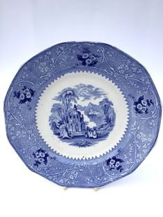 William Adams Columbia Blue and White English Transferware Dinner Plate 1850 #Adams #WilliamAdams