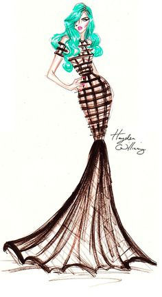 Hayden Williams Fashion Illustrations: Green Haired Seductress by Hayden Williams