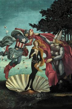 The Birth of Black Widow (Goddess of Beauty), attended by Thor (personification of Spring), Captain America (the west wind and the messenger of spring thaws) and Iron Man (the gentle breeze and west wind's wife). Ah symbolism!